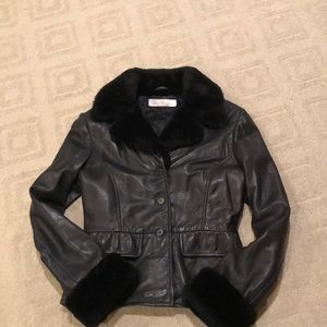 Jackets & Blazers - Women's black leather jacket P